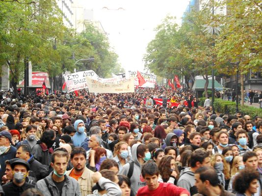 Section of the15,000-strong march in Athens on Monday in commemoration of the police killing of 15-year-old Alexis Grigoropoulos