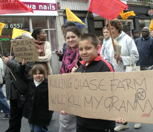 Children marching in Enfield against the cuts and the closure that are threatening Chase Farm Hospital – they know that cuts kill