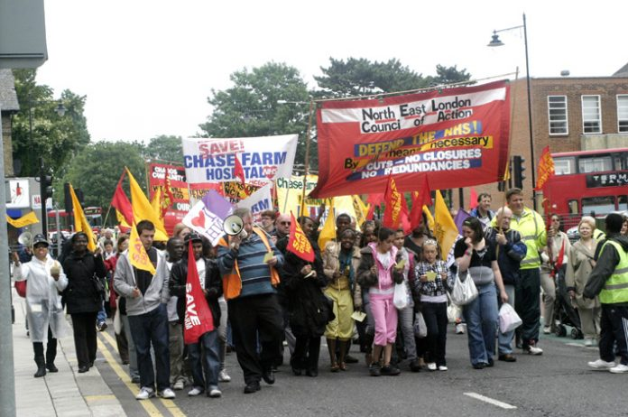 North East London Council of Action demonstration in Enfield last June against the closure of Chase Farm Hospital
