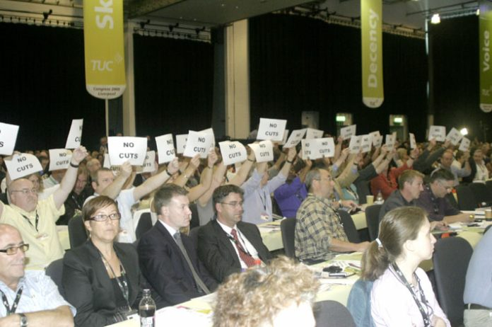 PCS delegation at the TUC Congress this year greeted Prime Minister Brown with the demand 'No cuts'