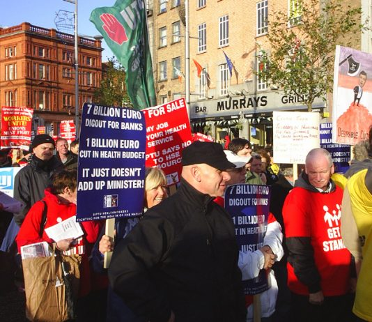 Section of the 100,000-strong march in Dublin on November 6th against the Irish government's attacks on jobs and wages