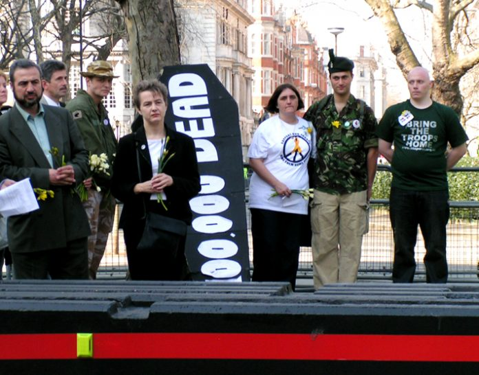 ROSE GENTLE (centre) on the demonstration in March 2005 to mark the second anniversary on the launching of the war on Iraq