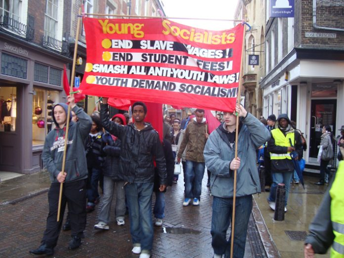 Young Socialists marching in Cambridge last month against slave-labour wages
