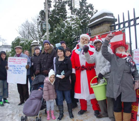 Father Christmas visits yesterday morning's 'Keep Chase Farm Hospital Open' picket called by the North East London Council of Action