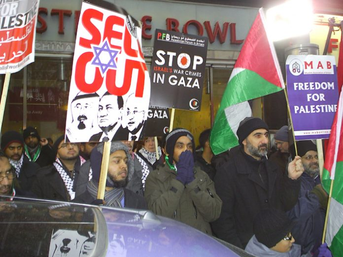 Protesters at the 2,000-strong picket of the Israeli embassy on Sunday demanding an end to the siege on Gaza