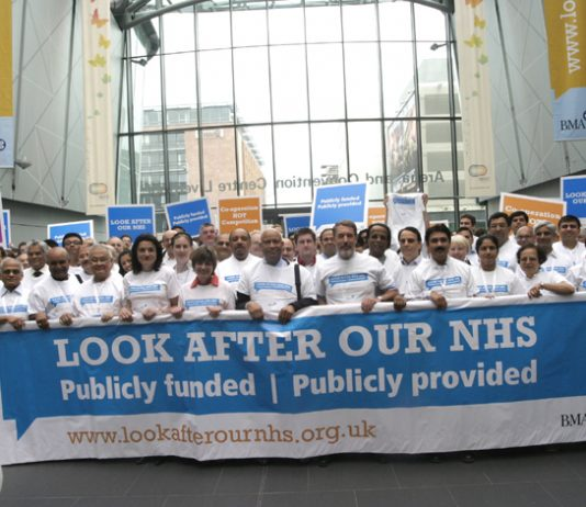 BMA delegates at their Annual Representation Meeting last June at the launch of the 'Look After Our NHS' campaign against privatisation