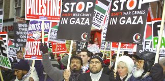 A section of the December 27 vigil outside the Israeli Embassy in London to mark the first anniversary of the Gaza massacre last winter
