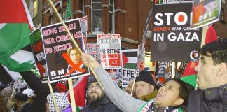 A section of the 2,000-strong vigil outside the Israeli embassy in London on December 27 to mark the anniversary of the Israeli bombardment of Gaza