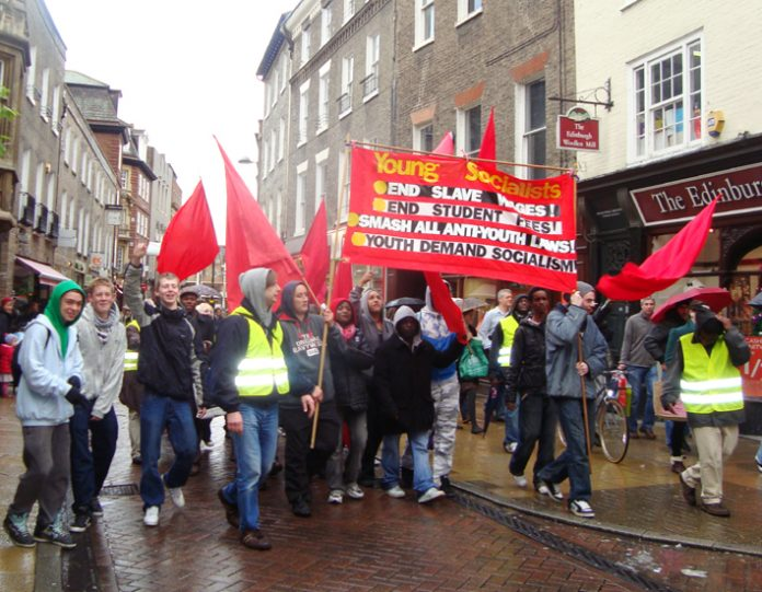 Young Socialists marching in Cambridge last November 14 for a socialist future