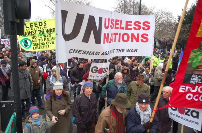 Marchers in London on January 10 last year against the Israeli attack on Gaza condemn the United Nations