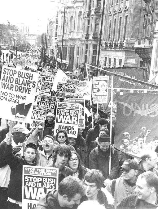 Massive London demonstration in March 2002 against war on Iraq