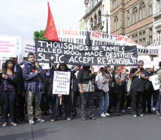 Demonstration in London last June against the Sri Lankan army bombardment of the Tamil regions of northern Sri Lanka