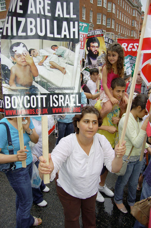 Marchers in London in July 2006 during the Israeli attack on Lebanon demand a boycott of the Israeli state