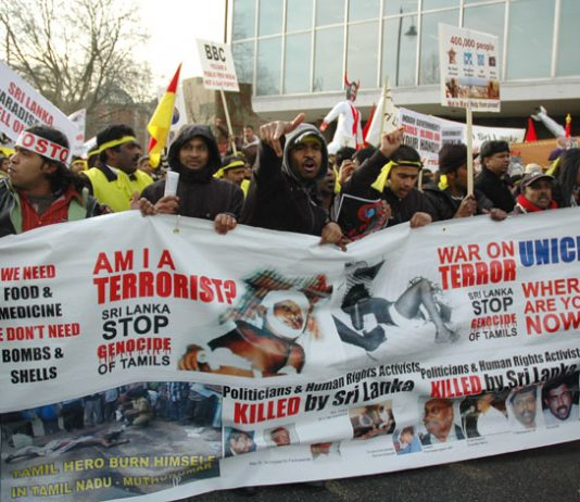 Tamils march through London against the butchery of both Rajapakse and Fonseka