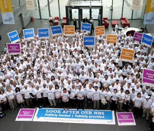 Delegates at last year's Annual Representative Meeting launch their 'Look After Our NHS' campaign against privatisation