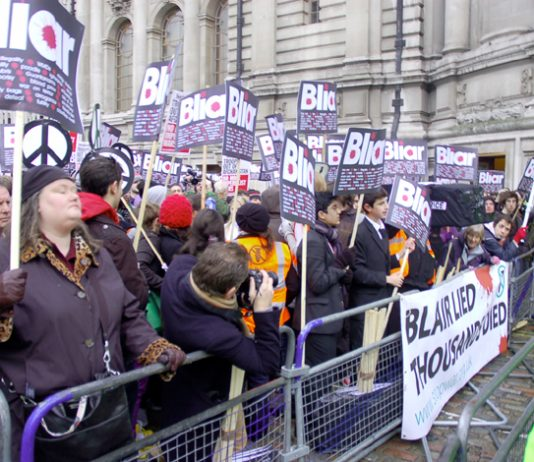 'Blair lied, thousands died' said over 700 protesters outside the Chilcott Iraq Inquiry yesterday