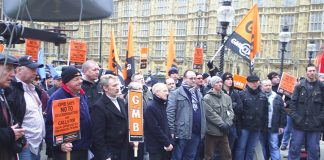 GMB members lobbying Parliament last Wednesday demanding the restoration of the National Agreement for the Engineering Construction Industry