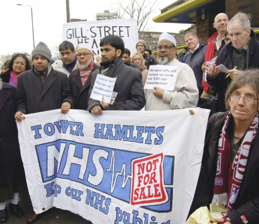 Tower Hamlets doctors and patients demonstrating against the privatisation of their surgeries last year
