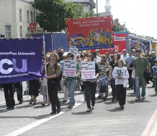 Students, lecturers and supporters marching against hundreds of job cuts at London Metropolitan University last summer