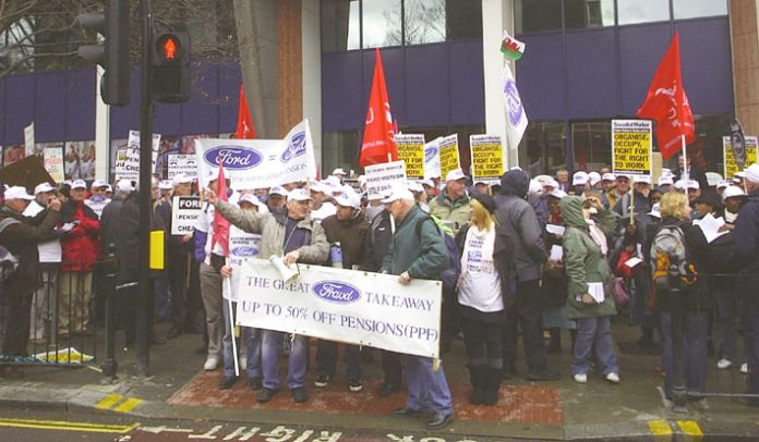 Section of the 500-strong protest of sacked Visteon workers assemble outside the Unite headquarters in Holborn on Wednesday