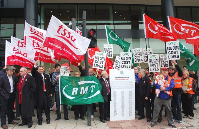 RMT members emphasising cuts cost lives