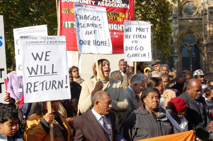 Chagossians angrily demonstrating outside the House of Lords that voted against their right to return