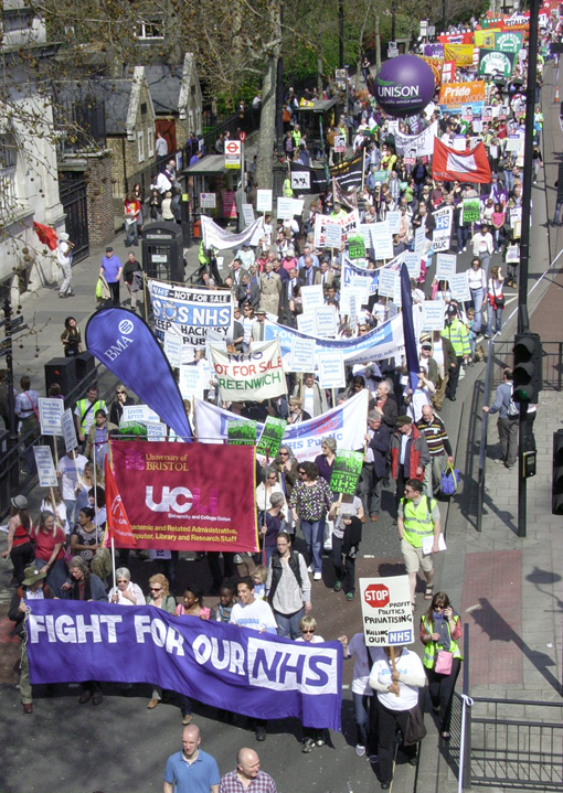A large contingent of NHS workers on Saturday's 10,000-strong 'Defend the Welfare State' demonstration in London