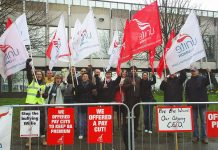 BA cabin crew on the picket line during their strike action before Easter – cabin crew members yesterday demanded more strikes be immediately called by their union, Unite