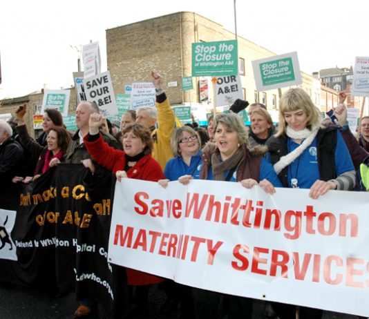 Hospital staff and local residents marching to save Whittington Hospital in February. There is massive opposition to NHS cuts