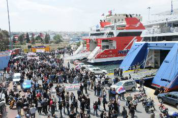 Greek seafarers demonstrate at the port of Piraeus on Wednesday morning