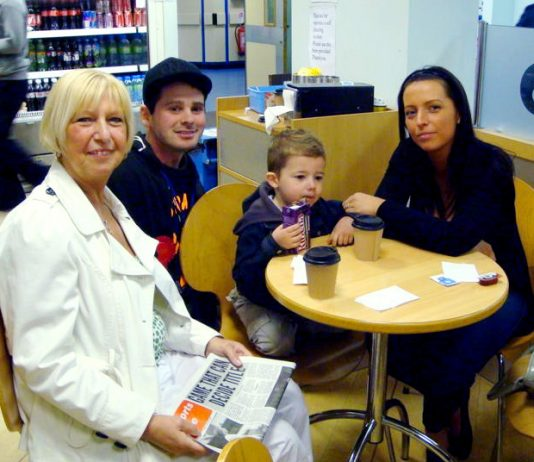 CAROLINE CONNELLY (left) along with her daughter and grandson with Manchester Central WRP candidate JONTY LEFF