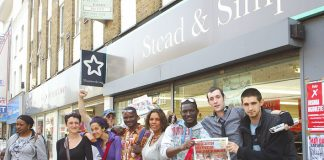 Camberwell and Peckham WRP candidate JOSHUA OGUNLEYE with members of his campaign team and supporters having a great day on Peckham High Street