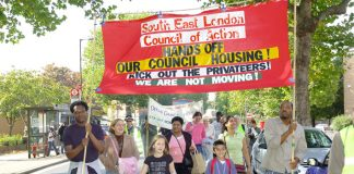 Heygate tenants and their families on a South-East London Council of Action demonstration starting from the estate, to keep council housing and stop the sell-off of Heygate and Aylesbury estates under the Southwark Council's regeneration plans
