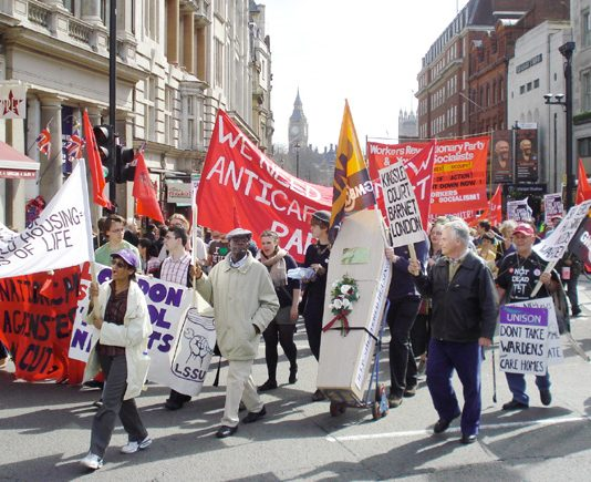 Campaigners on the 'Defend the Welfare State' demonstration in London on April 10th demanding that wardens are maintained in sheltered housing accomodation