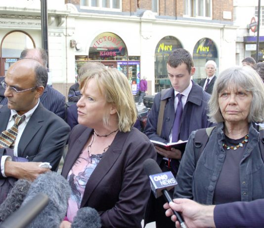 CELIA STUBBS (right) with DEBORAH COLES of Inquest and solicitor RAJU BHATT outside Scotland Yard yesterday morning