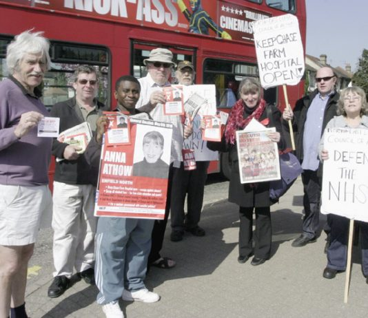 WRP candidate (3rd from right) led a very successful picket yesterday morning to keep Chase Farm Hospital open