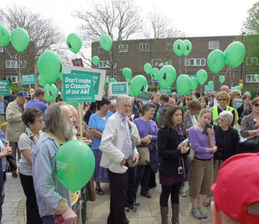 Some of the 300 demonstrators outside the Whittington Hospital yesterday lunchtime who are determined it will not be closed