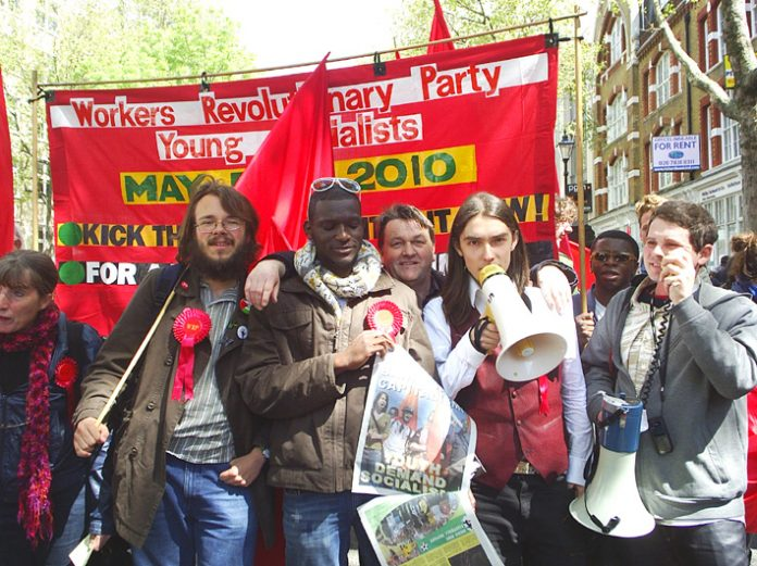 Workers Revolutionary Party General Election candidates in front of their banner (from left) ANNA ATHOW, GABRIEL POLLEY, JOSHUA OGUNLEYE, FRANK SWEENEY, MATT LINLEY and JONTY LEFF