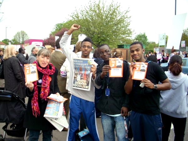 ANNA ATHOW with students at the Enfield College picket line yesterday, a number pledged they would vote WRP