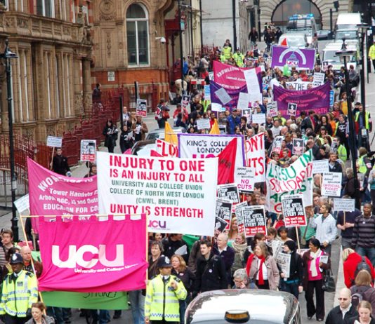 Lecturers marching to defend their jobs – they will step up their fight after this general election