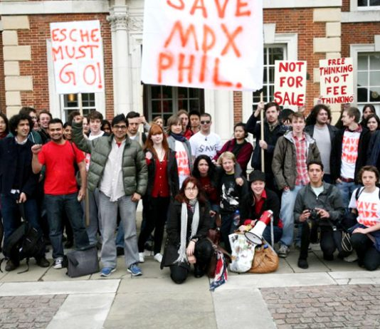 Students in front of the occupied Middlesex University Mansion Building