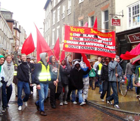 Young Socialists marching in Cambridge for a socialist future and against workfare