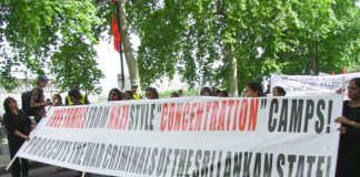 Demonstrators in London last June condemn the Sri Lankan regime's 'Nazi-style concentration camps' for detained Tamils