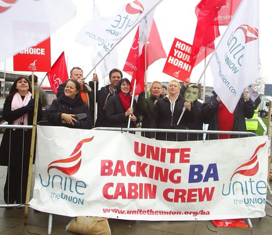 Cabin crew at Heathrow in high spirits during their recent strike action