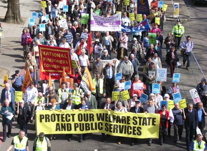 Workers marching in London last month to defend the welfare state
