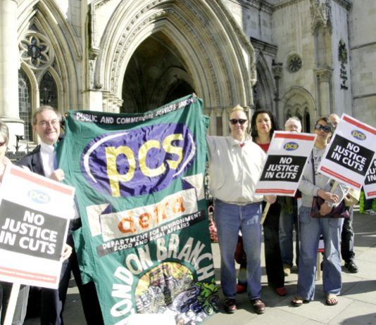 PCS members lobby the Court of Appeal during their legal action against pension cuts