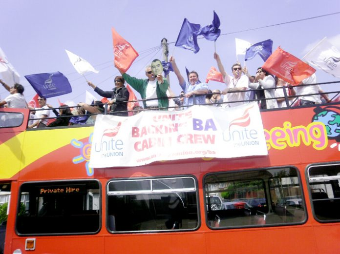Enthusiastic striking BA cabin crew aboard their battle bus at Heathrow yesterday