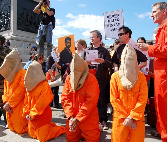 Reprieve prostest in June 2008 demanding the release of Binyam Mohamed from Guantanamo prison