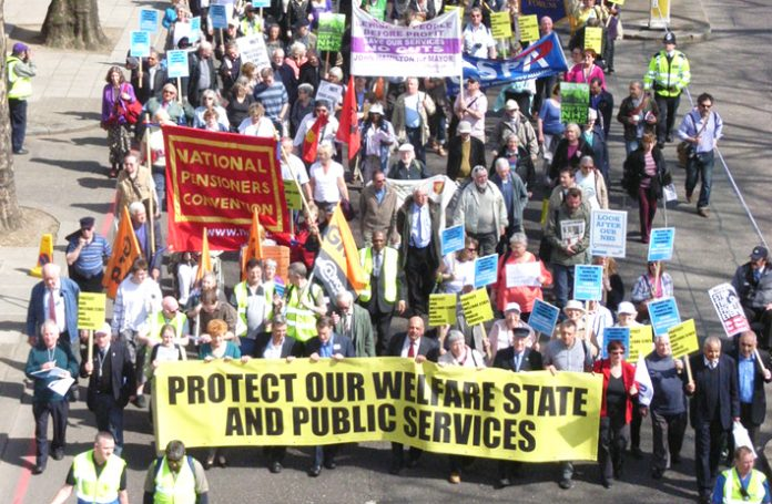 Trade unionists and pensioners marching to defend the Welfare State in April, on the eve of the general election