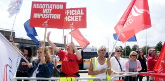 Confident striking BA cabin crew on the picket line last Thursday at Heathrow during the first of their five-day strike actions